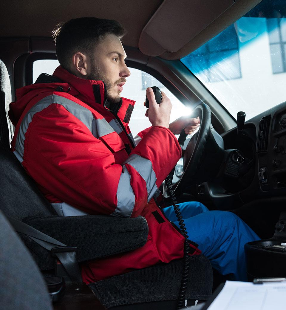EMS driver speaking into handheld radio | ePCR data | nemsis